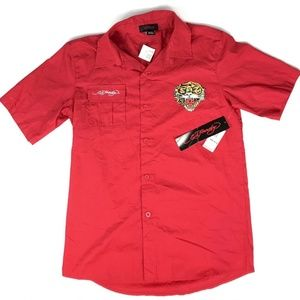 ED HARDY NEW Boys XL Red Button Up Polo Shirt